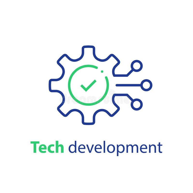 Innovatieconcept, technologische ontwikkeling, systeemintegratie, softwarezaken, technische ondersteuning, slimme oplossing vector illustratie