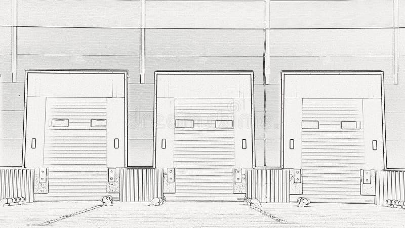 Innovatief logistisch complex pakhuis Uitstekende oplossing voor het opslaan van, het sorteren van en het vervoeren van producten royalty-vrije stock afbeeldingen