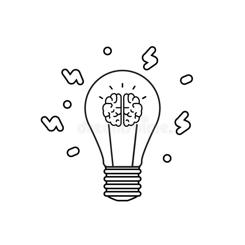 Innovatiepictogram Idee en Verbeelding Het sociale Concept van Media Zwarte vormen op de geïsoleerde witte achtergrond Illustrati royalty-vrije illustratie