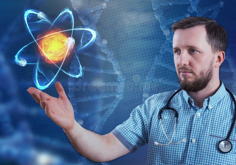Innovatieve technologieën in wetenschap en geneeskunde 3D illustratieelementen in collage stock illustratie