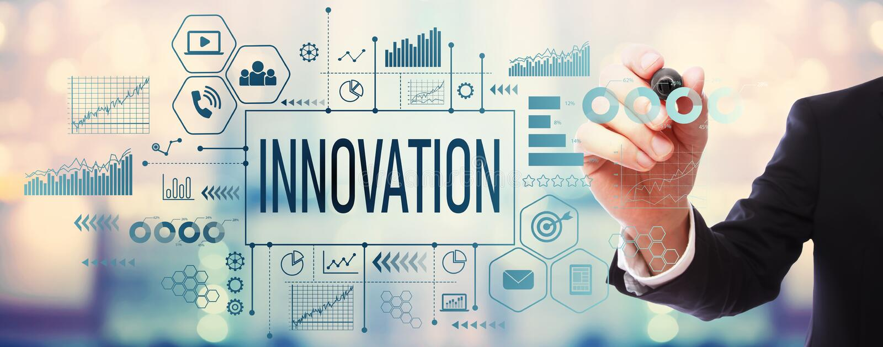 Innovation avec l'homme d'affaires photos stock