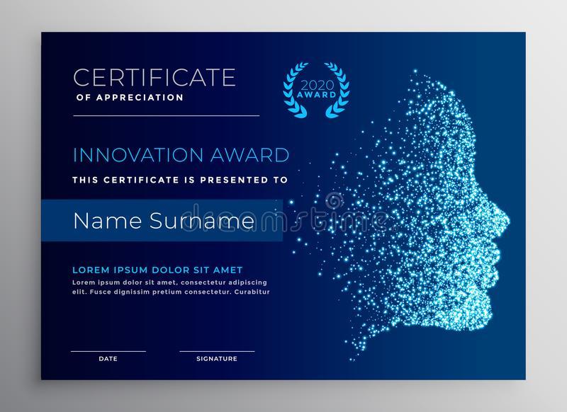 Innovation award certificate design with particle face vector illustration