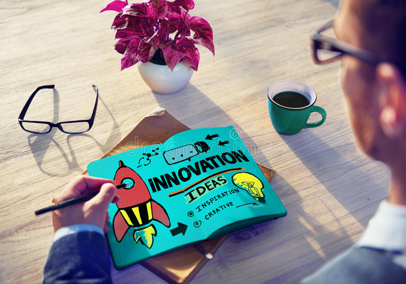 Innovation Business Plan Creativity Mission Strategy Concept stock photo