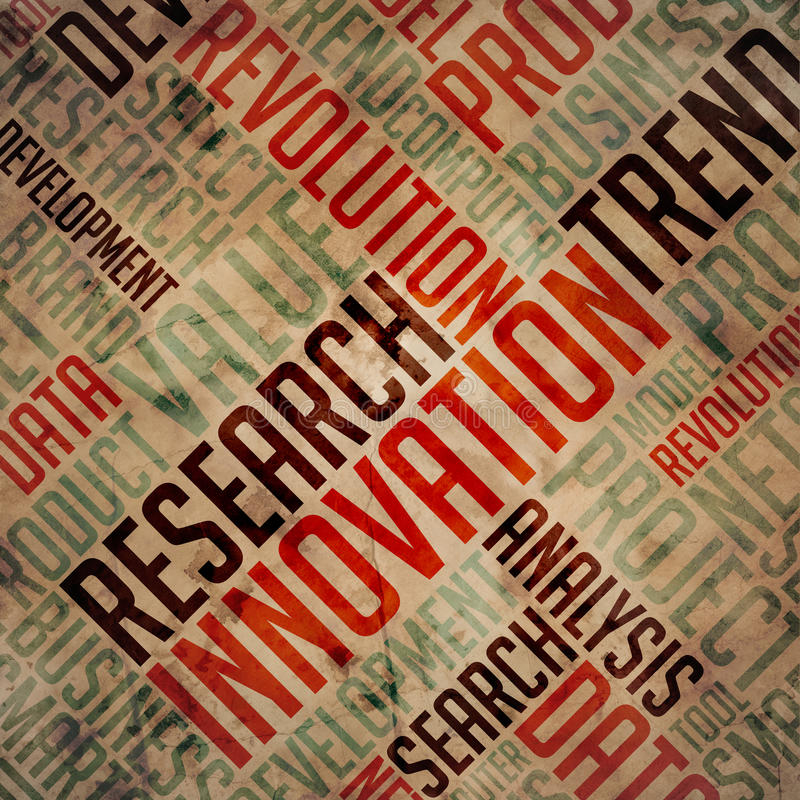 Innovation Concept on Grunge Wordcloud. Innovation Concept. Red and Blue Grunge Wordcloud royalty free stock image