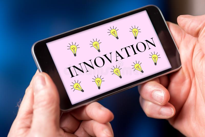 Innovation concept on a smartphone stock photo