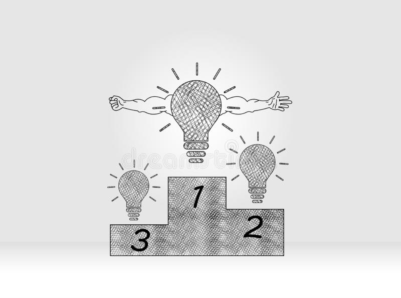 Innovation concept to Champion stock illustration