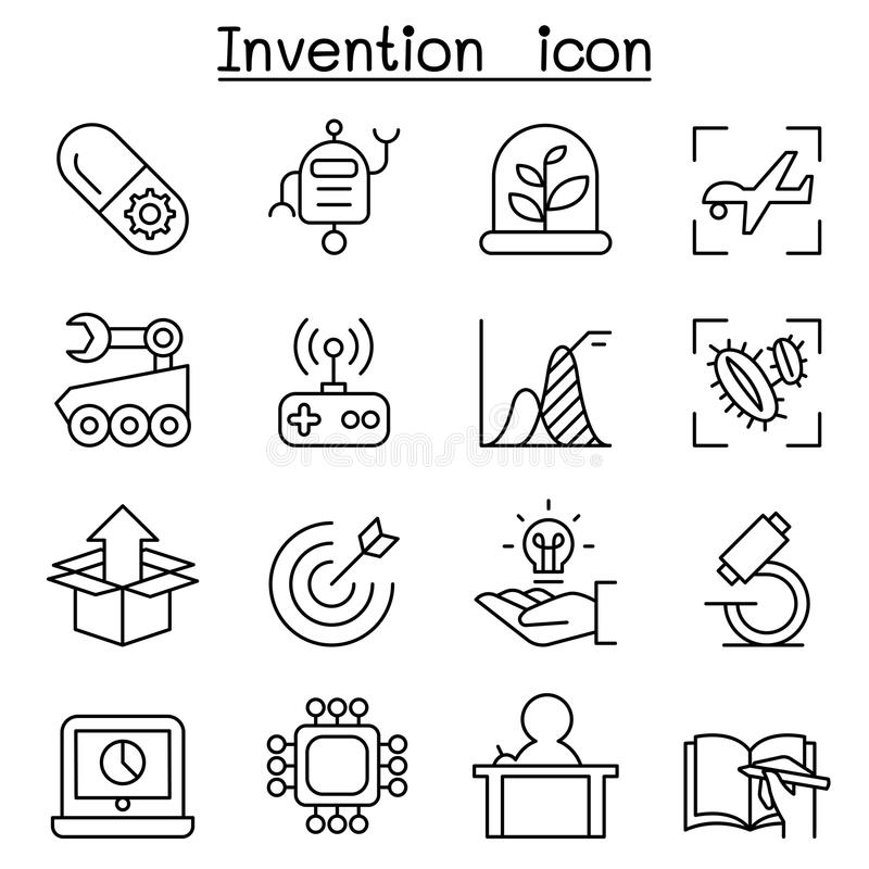 Innovation & Creative idea concept icon set in thin line style royalty free illustration
