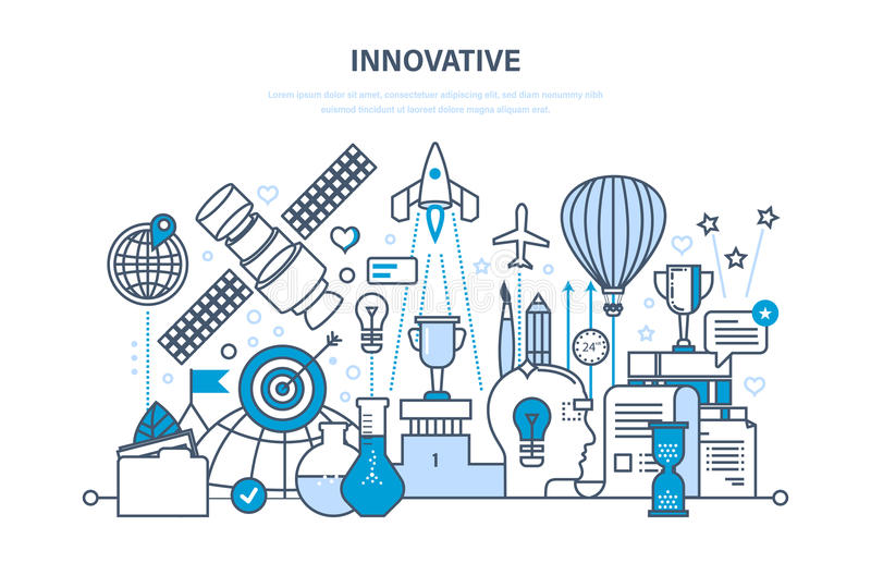 Innovation, creative thinking and creative process, brainstorming, imagination and vision. Innovation, creative thinking and creative process, brainstorming stock illustration