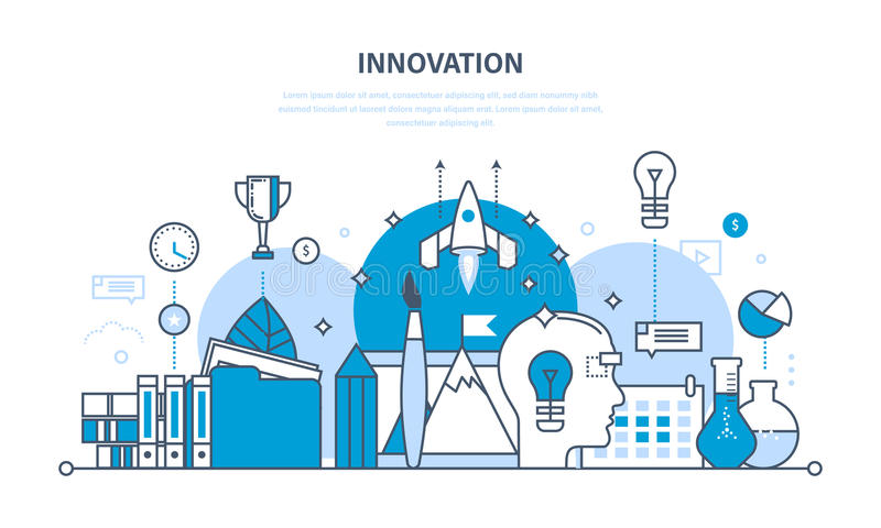 Innovation, creative thinking, process, brainstorming, imagination and vision, research. Innovation, creative thinking and creative process, brainstorming vector illustration