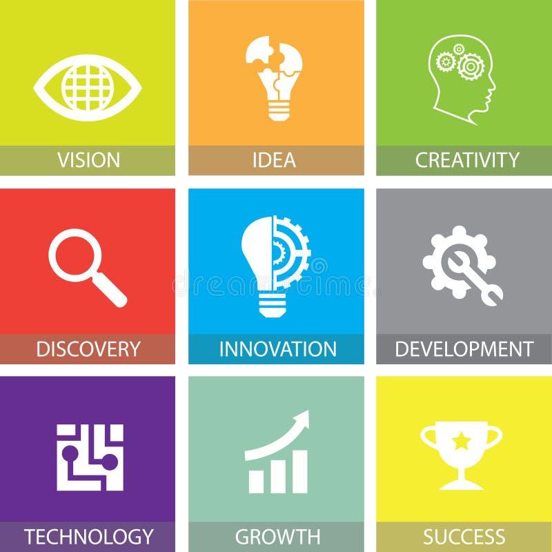 Innovation dans les icônes plates de concept d'affaires illustration de vecteur
