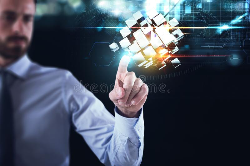 Innovation in the digital world. Businessman pointing at abstract cubes shines. 3D Rendering. Businessman pointing at abstract cubes shines. Concept of vision royalty free stock photography