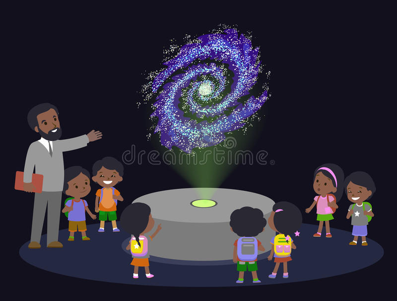 Innovation education elementary school african brown skin black hair group kids planetariun science galaxy. hologram on royalty free illustration