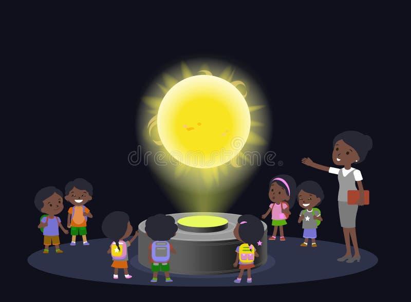 Innovation education elementary school african brown skin black hair group kids planetariun science sun. hologram on stock illustration