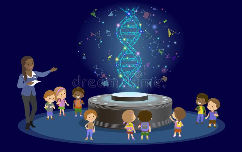 Innovation education elementary school learning technology - group of kids to molecule of DNA. hologram on biology. Innovation education elementary school royalty free illustration