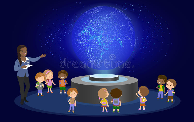 Innovation education elementary school learning technology and people concept - group of kids looking to earth. hologram on space. Lesson future museum center royalty free illustration