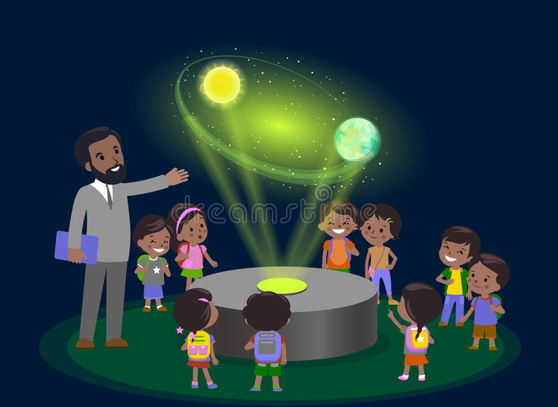 Innovation education elementary school learning technology and people concept - group of kids looking to orbit of earth. hologram. On space lesson future museum stock illustration
