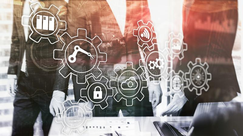 Innovation et automatisation des processus de technologie Industrie futée 4 illustration libre de droits