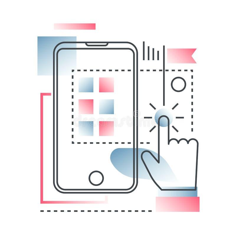 Innovation, Hightechvektorkonzept in der modischen Linie mit flacher Farbe der Steigung lizenzfreie abbildung