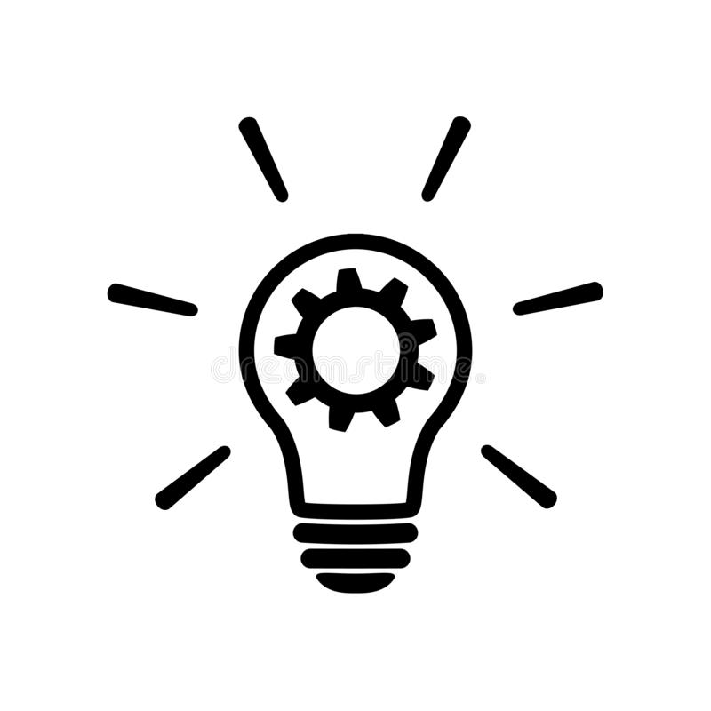 Innovation icon. Light bulb with cog symbol stock illustration