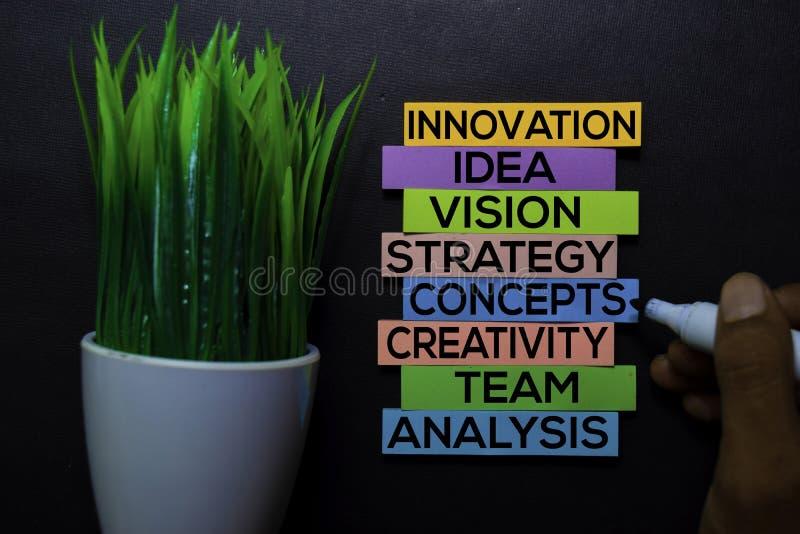 Innovation, idée, vision, stratégie, concepts, créativité, équipe, texte d'analyse sur les notes collantes d'isolement sur le bur image libre de droits