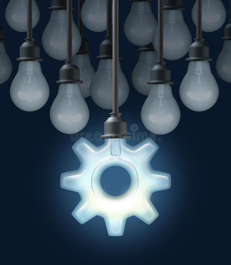 Innovation Ideas. As a business concept for thinking out of the box with a group of light bulbs and one light shaped as a gear or cog as a symbol of innovative stock illustration