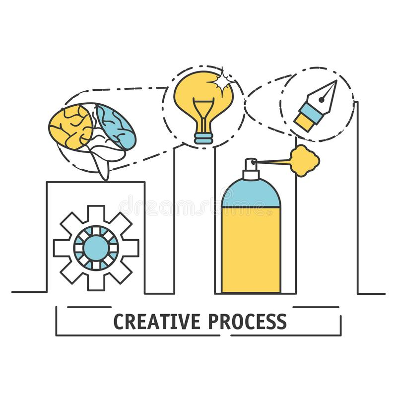 Innovation ideas to creative process inspiration. Vector illustration royalty free illustration