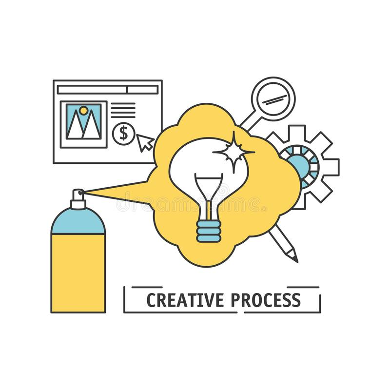 Innovation ideas to creative process inspiration. Vector illustration stock illustration