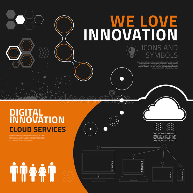 Innovation infographic elements, icons and symbols royalty free illustration