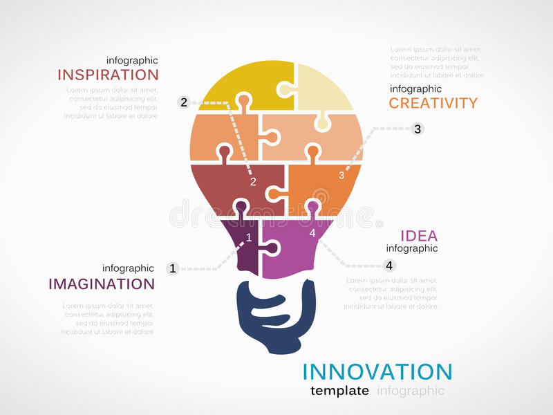 Innovation. Infographic template with light bulb made out of puzzle pieces