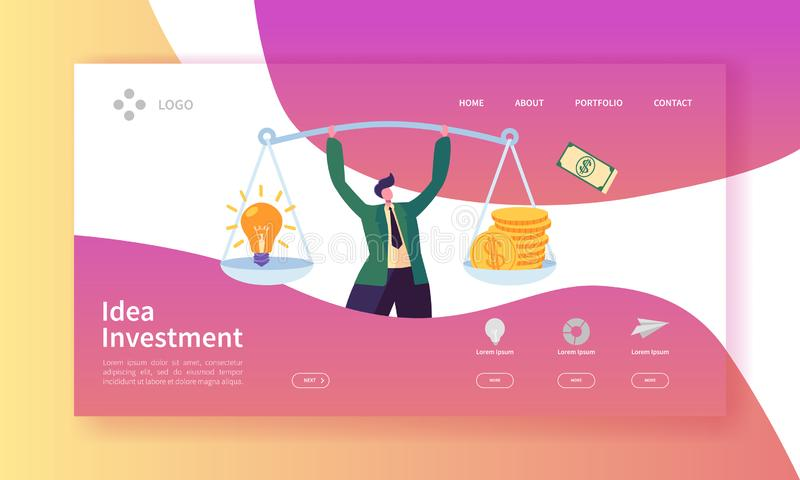Innovation Investment Landing Page. Invest in Idea Banner with Flat Man Character and Weights with Money and Light Bulb royalty free illustration