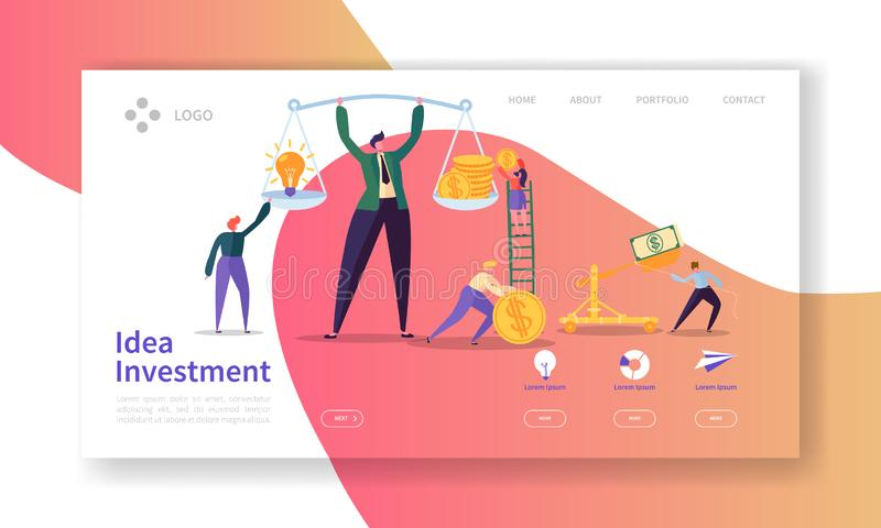 Innovation Investment Landing Page. Invest in Idea Banner with Flat People Characters Saving Money Website Template. Easy Edit and Customize. Vector royalty free illustration