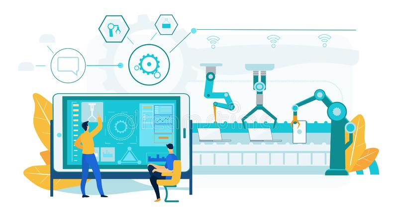 Innovation Laptop Assembly. Robotic Conveyor Line. Innovation Laptop Assembly Process. Robotic Conveyor Line with Engineering People Control Process. Man stock illustration