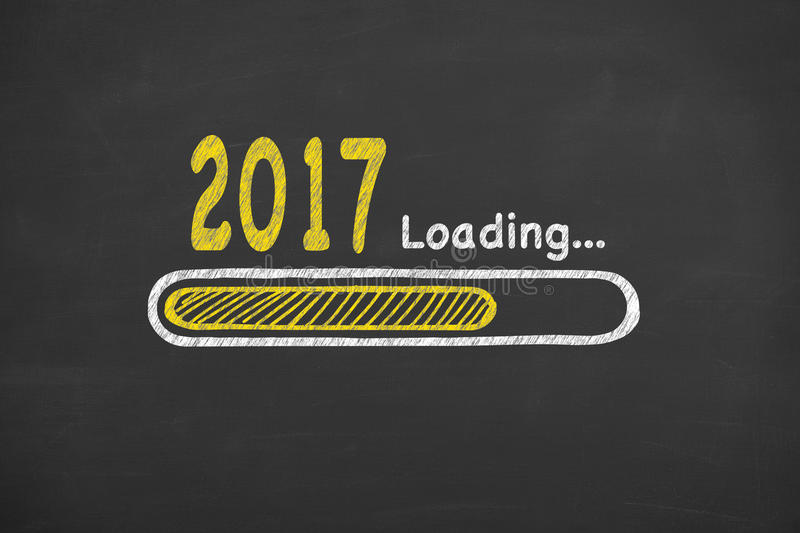Innovation Loading New Year 2017 on Chalkboard stock photography