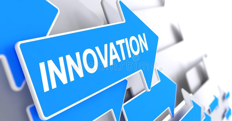 Innovation - Message on Blue Arrow. 3D Render. Innovation, Text on Blue Pointer. Innovation - Blue Cursor with a Text Indicates the Direction of Movement. 3D vector illustration