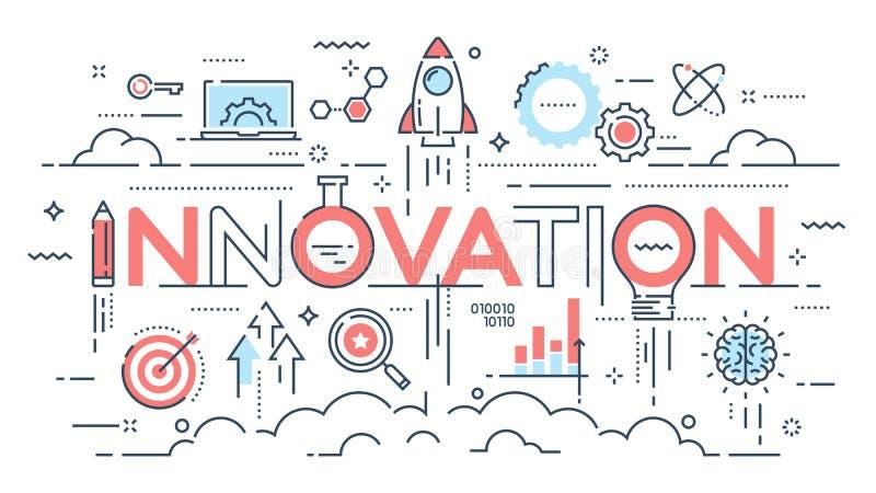 Innovation, new ideas, creativity and technology thin line concept. Vector illustration. Editable stroke royalty free illustration