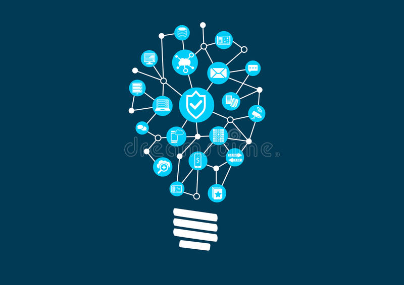 Innovation in IT security and information technology protection in a world of connected devices. Vector illustration on dark background royalty free illustration