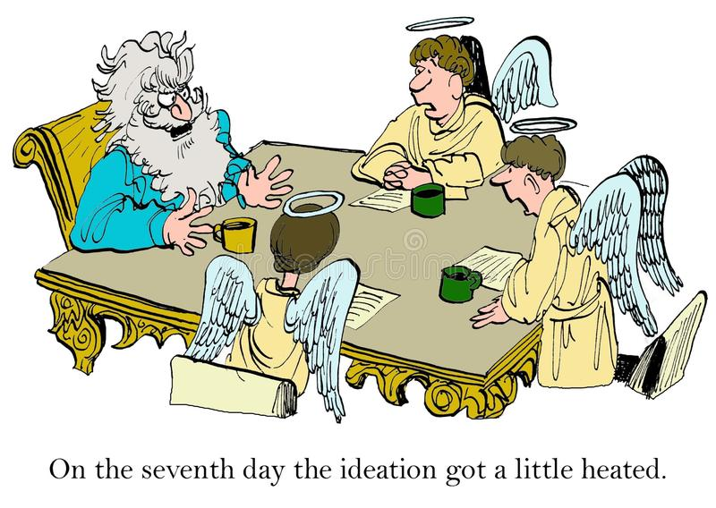Innovation Session. Business cartoon of an innovation session in heaven, 'on the seventh day the ideation got a little heated royalty free illustration