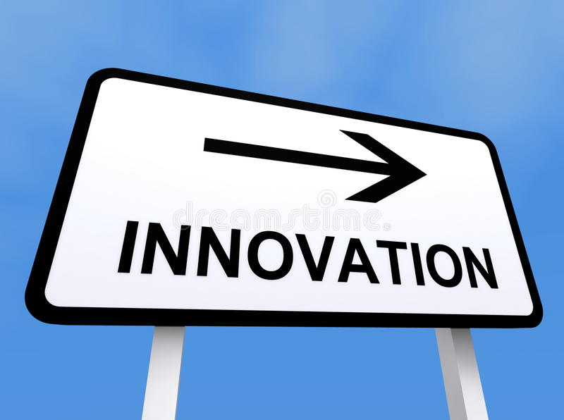 Innovation sign. Directional innovation sign with blue sky background stock illustration