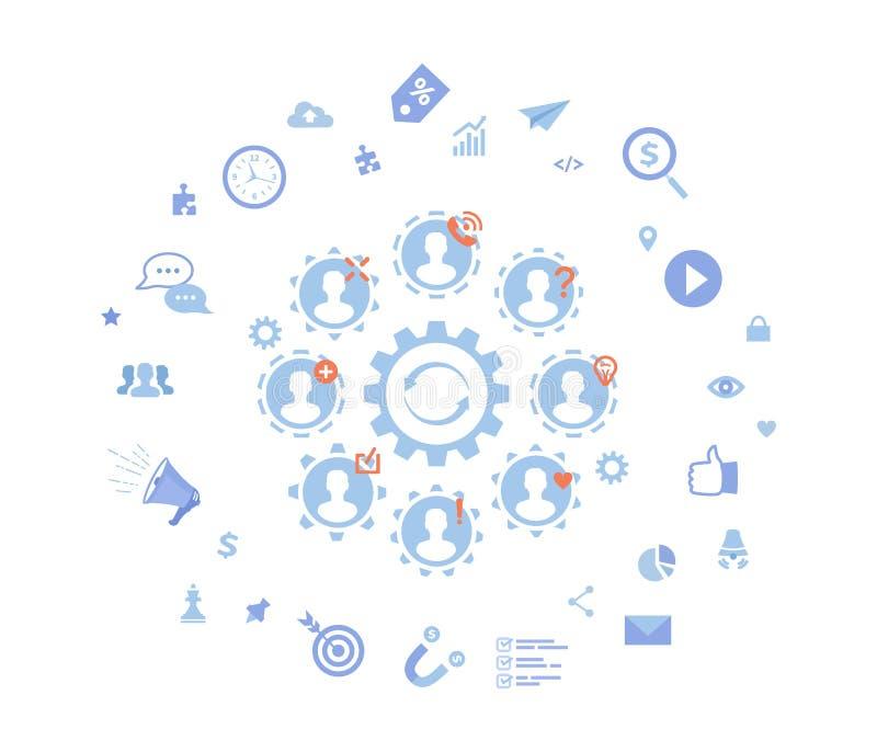 Innovation sociale, idée, stratégie, technologie, nouveaux changements, ?ommunications, travail d'équipe, travail ensemble ?l?men illustration de vecteur