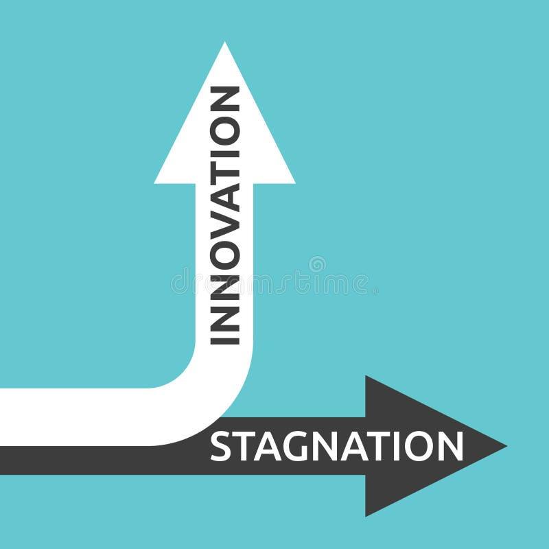 Innovation, stagnation arrows vector illustration