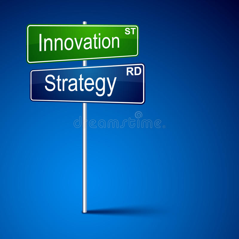 Innovation strategy direction road sign. Vector direction road sign with innovation strategy words vector illustration