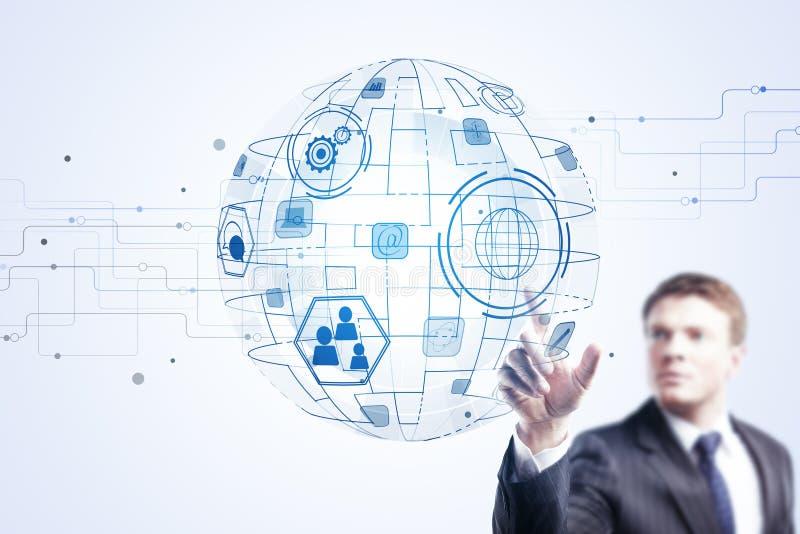 Innovation, télécommunication mondiale et concept d'infograph photos stock