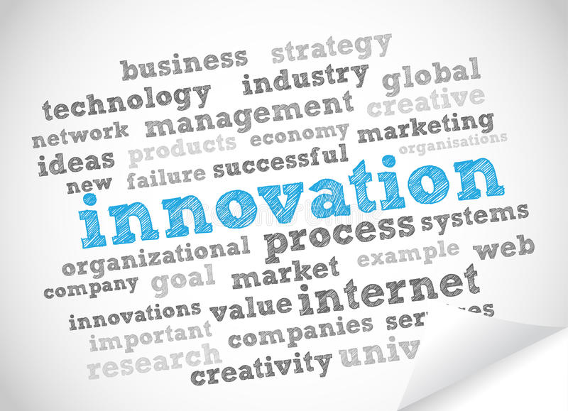 Innovation tag cloud. Vector background