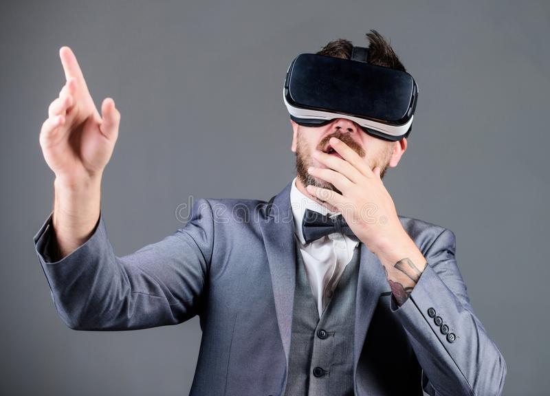 Innovation and technological advances. Business implement modern technology. Businessman explore virtual reality. Technology for business. Digital surface royalty free stock photo