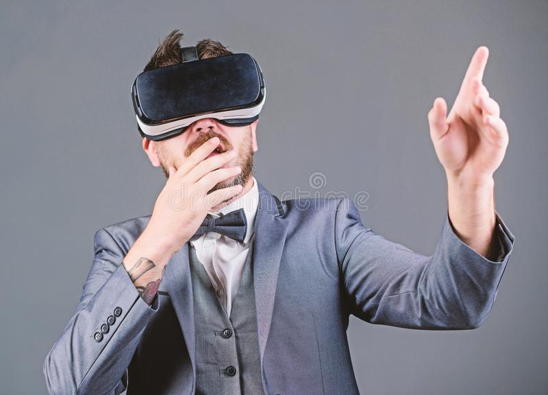 Innovation and technological advances. Business implement modern technology. Businessman explore virtual reality. Technology for business. Digital surface stock image