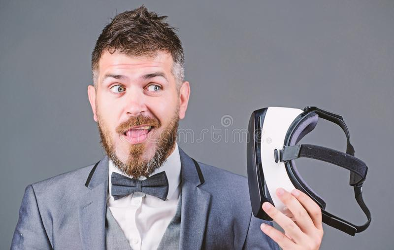 Innovation and technological advances. Businessman explore virtual reality. Digital technology for business. Business. Implement modern technology. Business man royalty free stock photo