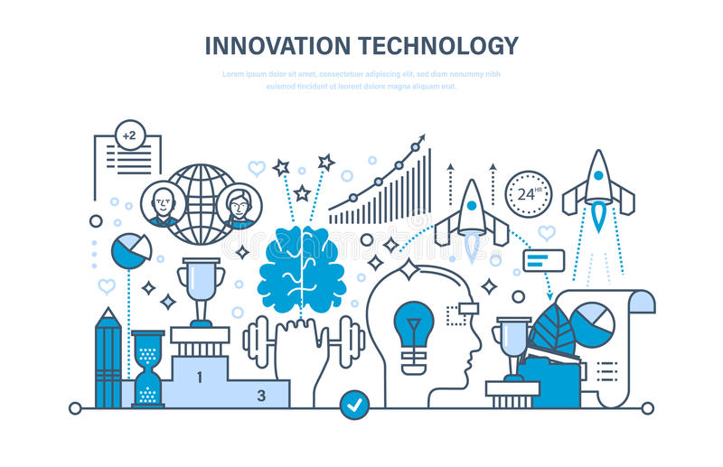 Innovation technology. Creative thinking and process, business systems development, marketing. Innovation technology. Creative thinking and process, business royalty free illustration