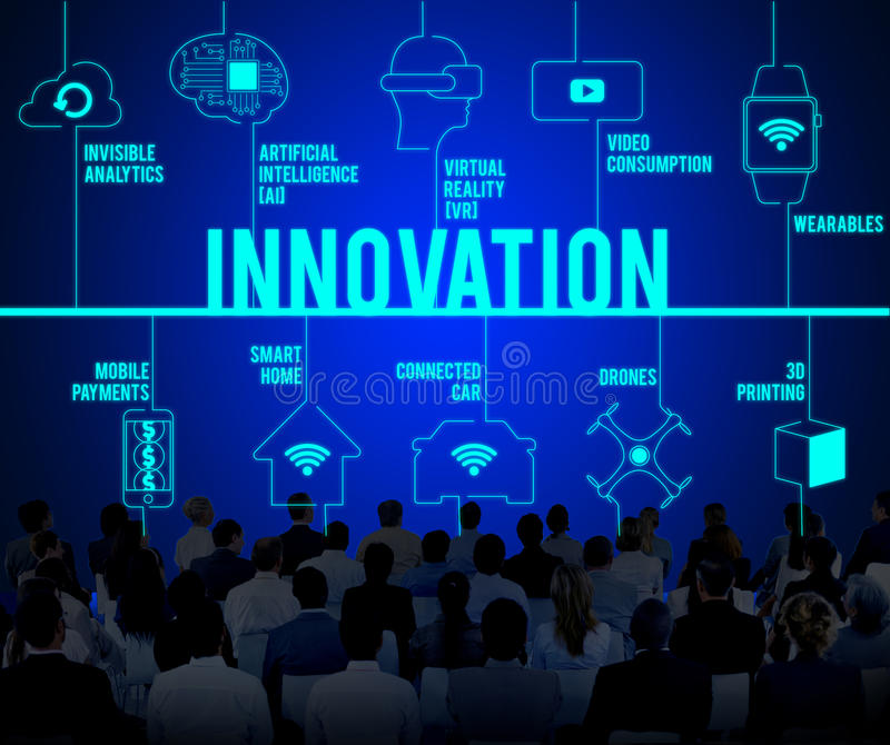 Innovation verbundenes Brummen-Technologie-Konzept stockbilder
