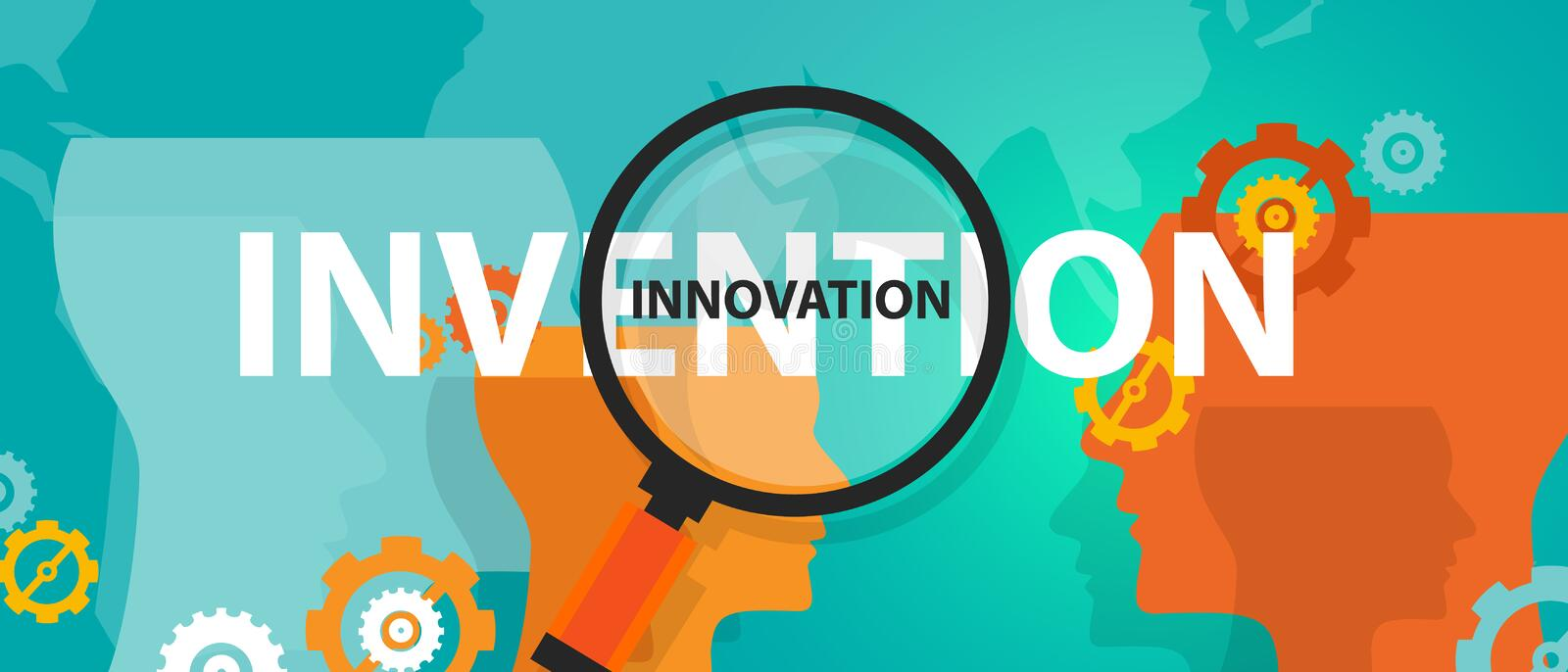 Innovation vs invention concept of thinking analysis idea creative mind. Vector royalty free illustration