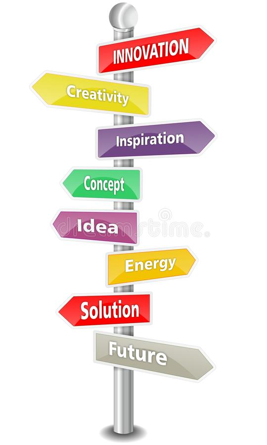 Download Innovation Word Cloud In A Colorful Traffic Sign Stock Illustration - Image: 32370804